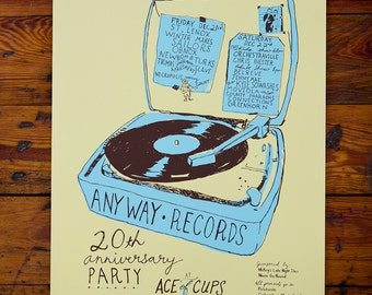 SALE!! Anyway Records 20th Anniversary Screenprinted Poster New Bomb Turks, Moviola, Connections