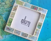 Gift for Traveler Map Frame Custom Map Favorite Places Personalized Atlas Picture Frame