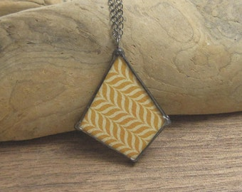 Double Sided Glass Pendant | Stained Glass | Bohemian | Gift Under 50 | Gift for Women | Chain Necklace | Geometric Jewelry | Colorful