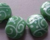 Lampwork Beads Green Handmade Glass Ericabeads Soft Teal Squeezes (4)