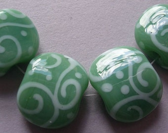 Lampwork Beads Green Handmade Glass Ericabeads Soft Teal Squeezes (4)