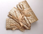 Bridesmaid clutches in gold sequins // Three sparkle glitter envelope slim clutch with a champagne bow // Custom colors available