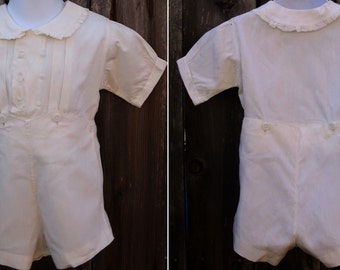 Vintage 1930s Heirloom White Cotton Coverall Creeper / 2-Piece Shorts and Shirt Onesie // sz 18 mos to 2 Toddler boys / girls