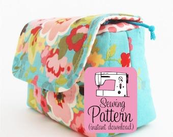 Camera Pouch PDF Sewing Pattern | Padded Drawstring Storage Pouch Sewing Pattern PDF