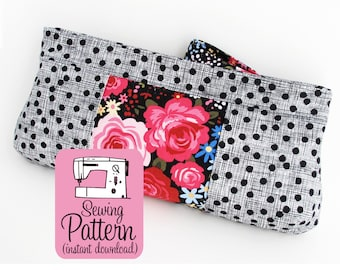 Violet Clutch PDF Sewing Pattern | Sew a zip top bag to use as a clutch purse handbag, cosmetics make up bag, or other storage.