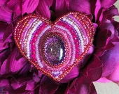 Sweetest Heart - Bead Embroidered Brooch