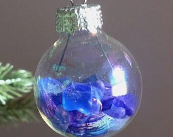 Mini Rainbow Bubble Blue Sea Glass Ornament Suncatcher-Set of 4
