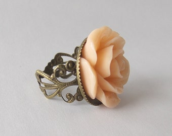 Peach Rose Ring, Flower on Brass Tone Filigree, Resin Flower Ring, floral gift box, 23mm flower custom color white black red pink green blue