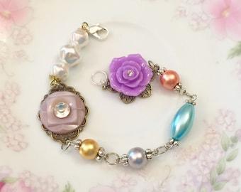Assemblage Bracelet, Purple Flower Bracelet, Vintage Button Jewelry, Pearl Bead Bracelet, Rhinestone Bracelet, Handmade By KreatedByKelly