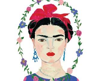 Frida Kahlo Print Gouache Painting