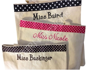 Monogrammed Teacher Tote Canvas Name Bag Books Gift Personalized Bridesmaid Bride
