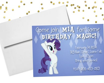 Personalized Birthday Invitation - My Little Pony Rarity