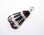 Black & Neon Dangle Earrings