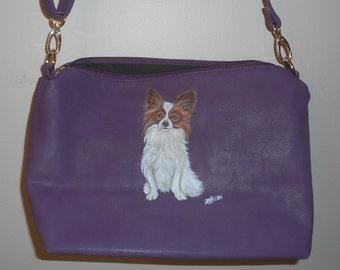 Papillon Dog Hand Painted Faux Leather Handbag Bag Purple Purse