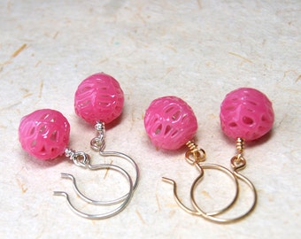 Pink Spiderweb Bead Earrings - Vintage Lace Glass Bead Earrings - Pink Glass Earrings - Sterling or Gold Fill Earwires - boho chic