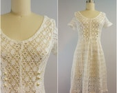 White Cotton Crochet Dress | 1980s Vintage Cover-Up by Mavens of California | Size Small
