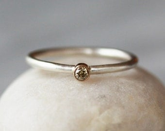 Diamond Stacking Ring, Natural Color Diamond, Light Brown Diamond, 14k Gold Accent, Sterling Silver Band, Mixed Metal Ring, Stacking Jewelry