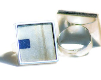 License Plate Ring White Navy Blue Dash Letter Typography Adjustable Eco Friendly