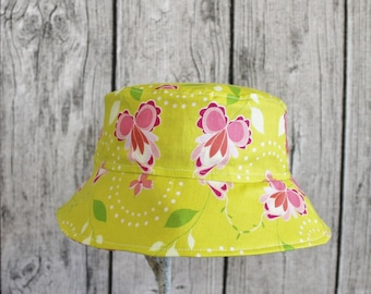 Kids Child Children Reversible Fabric Bucket Hat MB Hothouse Flowers Pink