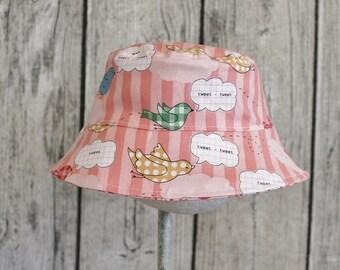 Kids Child Children Reversible Fabric Bucket Hat  Tweet Daisy