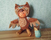 Little Owlet art doll child in costume