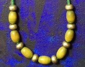 Aarikka Finland Vintage 80's Retro Green Wooden and Silver Toned Bead Necklace - Adjustable Length Excellent Condition