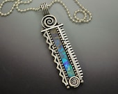 Sterling silver bar pendant necklace with blue iridescent faux opal inlay polymer clay swirls and twirls sterling snake chain