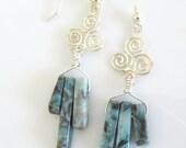 Aqua Terra Jasper Earrings - Long Gemstone  Stick Earrings -  Gift For Her - Blue Green Dangle Chandelier Earrings - Boho Jewelry