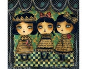 Red Horse - Cheerful Giclee print reproduction of an original mixed media girls painted by Danita Art