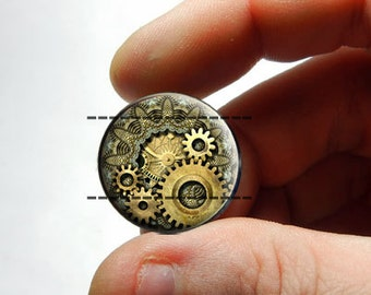 Glass Cabochon - Steampunk Gears  - for Jewelry and Pendant Making