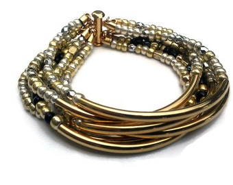 Gold Bead Bangle - Multi Strand Gold Bead Bracelet - Bohemian Jewelry - Small Seed Bead Bracelet