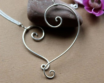Sterling Silver Mother Daughter/Child Heart Pendant
