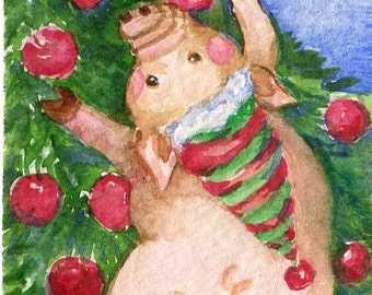 ACEO Original Christmas Pig Watercolor Painting  Art Card. Piggy dancing with candy cane, decorated tree