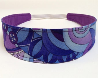 Adult Headband, Womens Headband, Headband for Women, Reversible Fabric Headband  -  Blue, Purple, White Mod Geometric - ROXY BLUE
