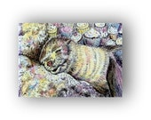 Seal Art Dreaming of Cupcakes mini watercolor fine art Print fur seal artwork