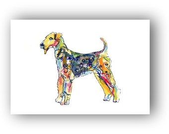Airedale Terrier Art Dog Silhouette Print 5 x 7