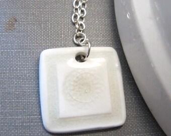 Ceramic Necklace, White Pale Grey, White Ceramic, Silver Necklace, White Ceramic Charm, Silver Chain, Silver Jewelry, Ceramic Pendant