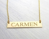 Gold Nameplate Necklace, Name Necklace, Gold Name Bar, 14K GF Personalized Jewelry | Customized Necklace | Gold Name Necklace Goldfill