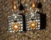 Mixed Metal Petals Copper Earrings