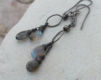 LABRADORITE earrings, gemstone earrings, gray, sterling silver, handmade artisan earrings