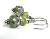 Sea Green - Czech Glass, Sterling Silver, Hill Tribe Fine Silver Earrings