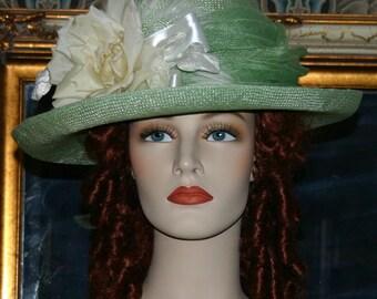 Downton Abbey Hat Edwardian Hat Easter Hat Church Hat Kentucky Derby Hat Ascot Hat Green Hat - Irish Spring OAK