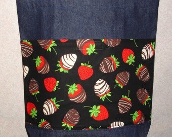 New Large Handmade Chocolate Covered Strawberries Strawberry Denim Tote Bag