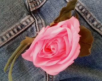 Vintage 1960s Silk Flower Pink Rose Boutonnière Millinery Hat Supplies 20141020K105