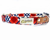 Eco Friendly Hemp Dog Collar in Crab Party Plaid. Adjustable Fit in Sizes Small Medium Large.