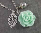 Mint Green and Gray Flower and Leaf Charm Wedding Bridesmaids Necklace