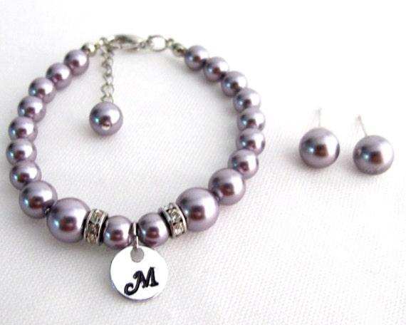 Child Initial Bracelet Baptism Bracelet Flower Girl Bracelet Swarovski Pearl Initial Bracelet Stud Earrings Free Shipping In USA