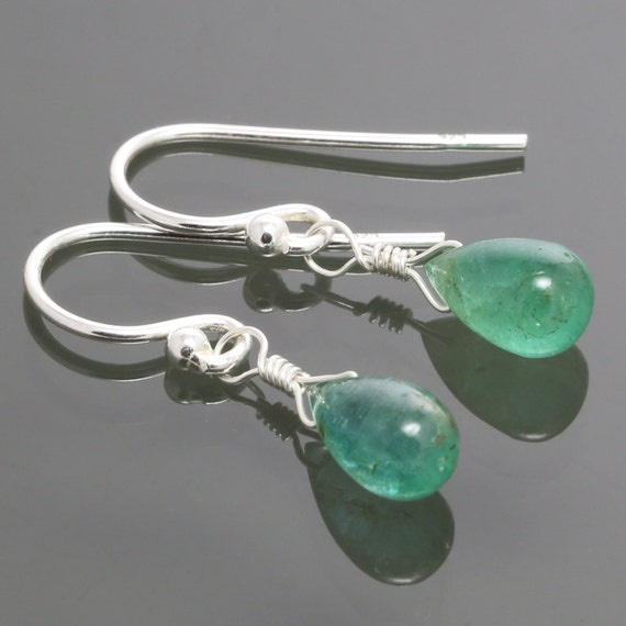 Colombian Emerald Earrings with Sterling Silver Ear Wires s15e022