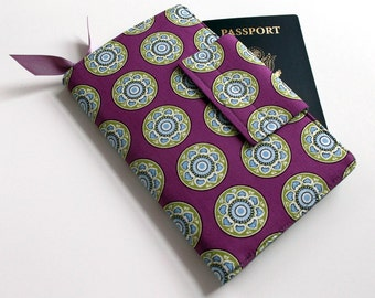 Passport Wallet, Travel organizer, Smart phone holder,Purple,Gray Chevron lining- Ready to ship