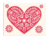 set of five greeting cards, Mon Coeur letterpress cards, leafy floral red heart greeting cards, blank inside
